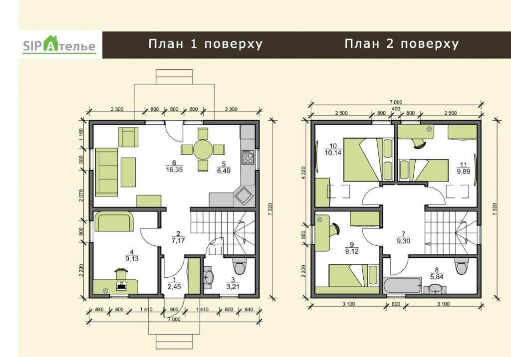 Планировка двухэтажного дачного дома из сип панелей 102,5 М