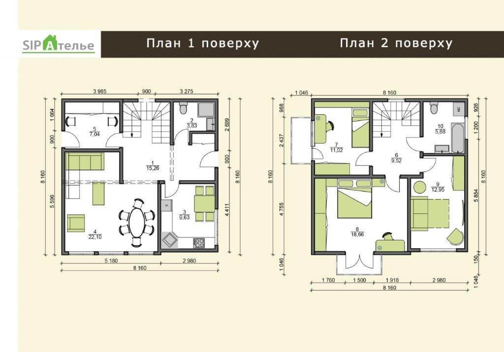 Планировка двухэтажного коттеджа из сип панелей 137,4 М