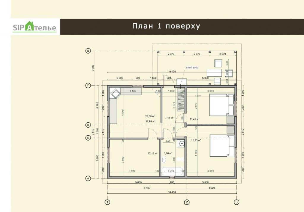 Планировка дачного домика из сип панелей 143,6 М