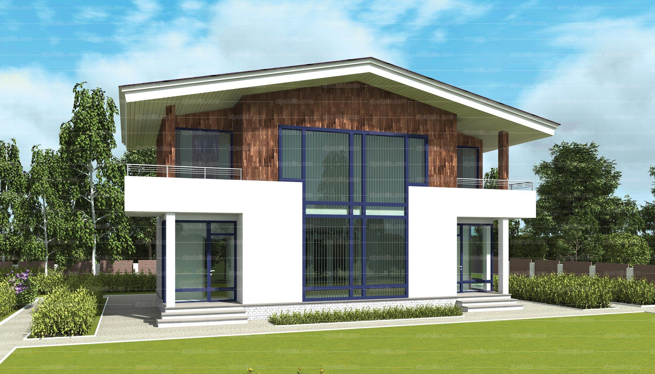 Двухэтажный дом из сип панелей «Флод» 157,7