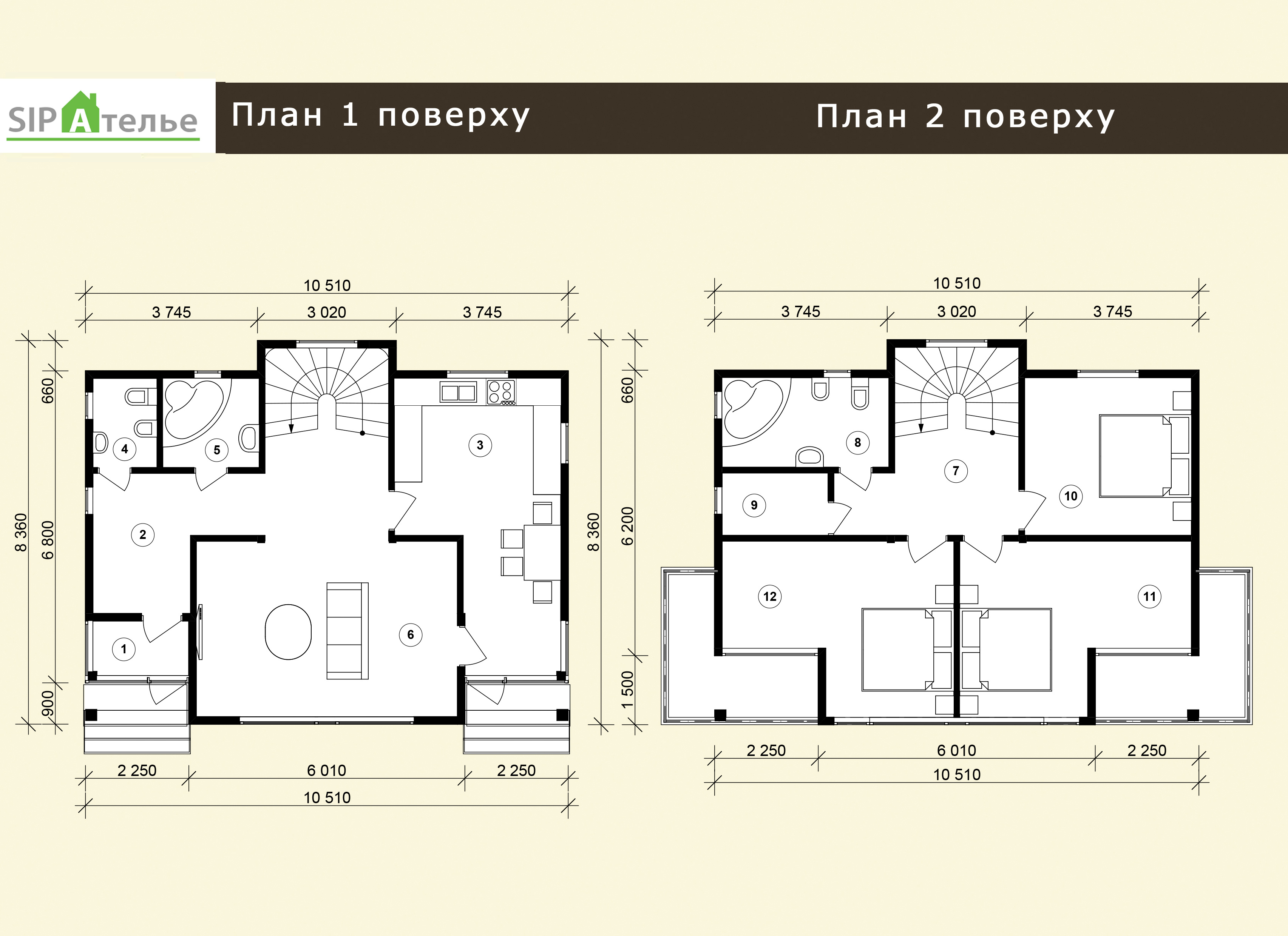 Планировка двухэтажного дома из сип панелей «Флод» 157,7