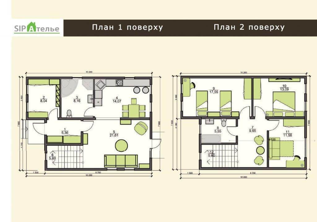Планировка двухэтажного коттеджа из сип панелей 142,6 М