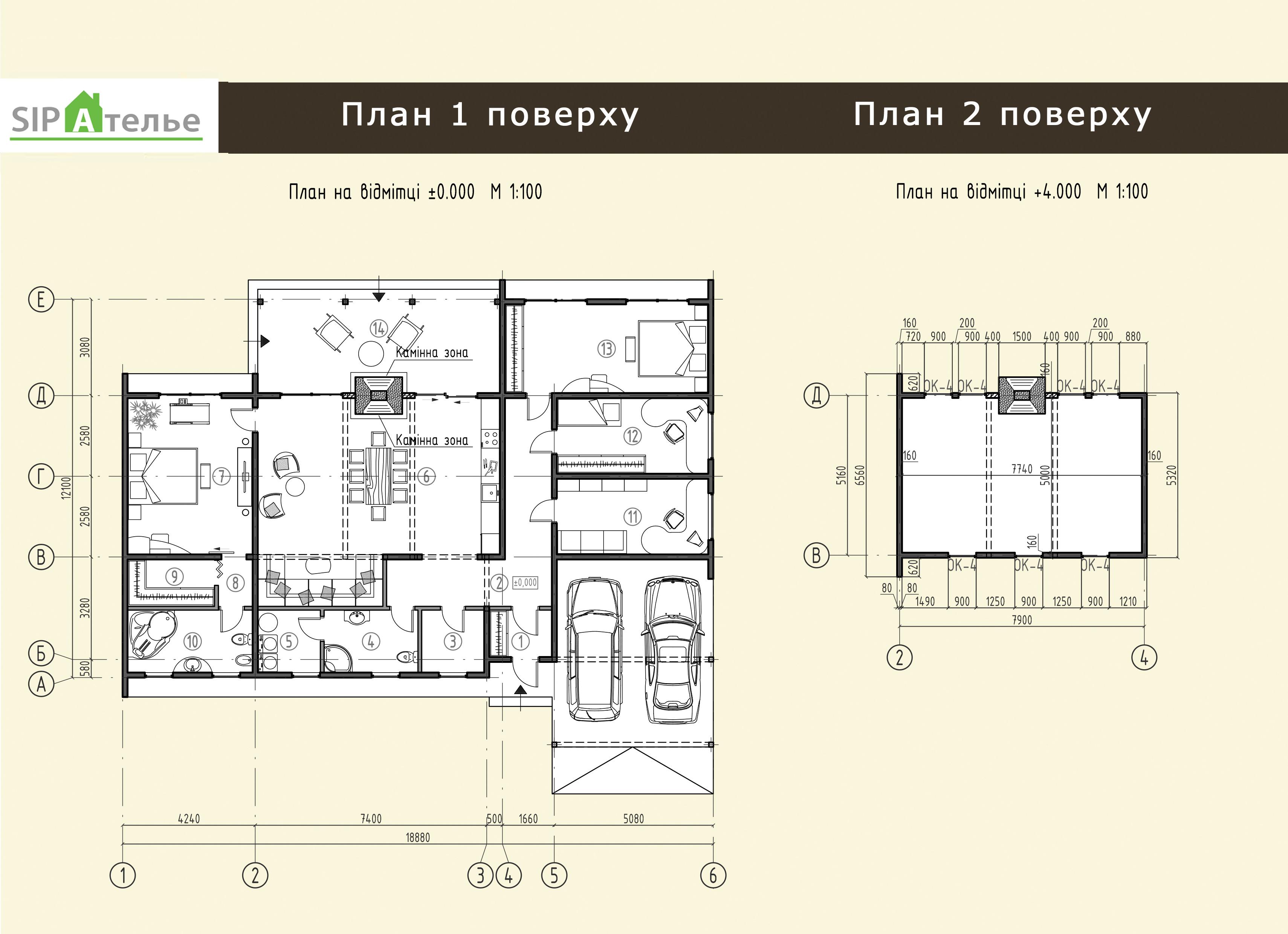 Планировка коттеджа из сип панелей Олимп - 256,4 М2