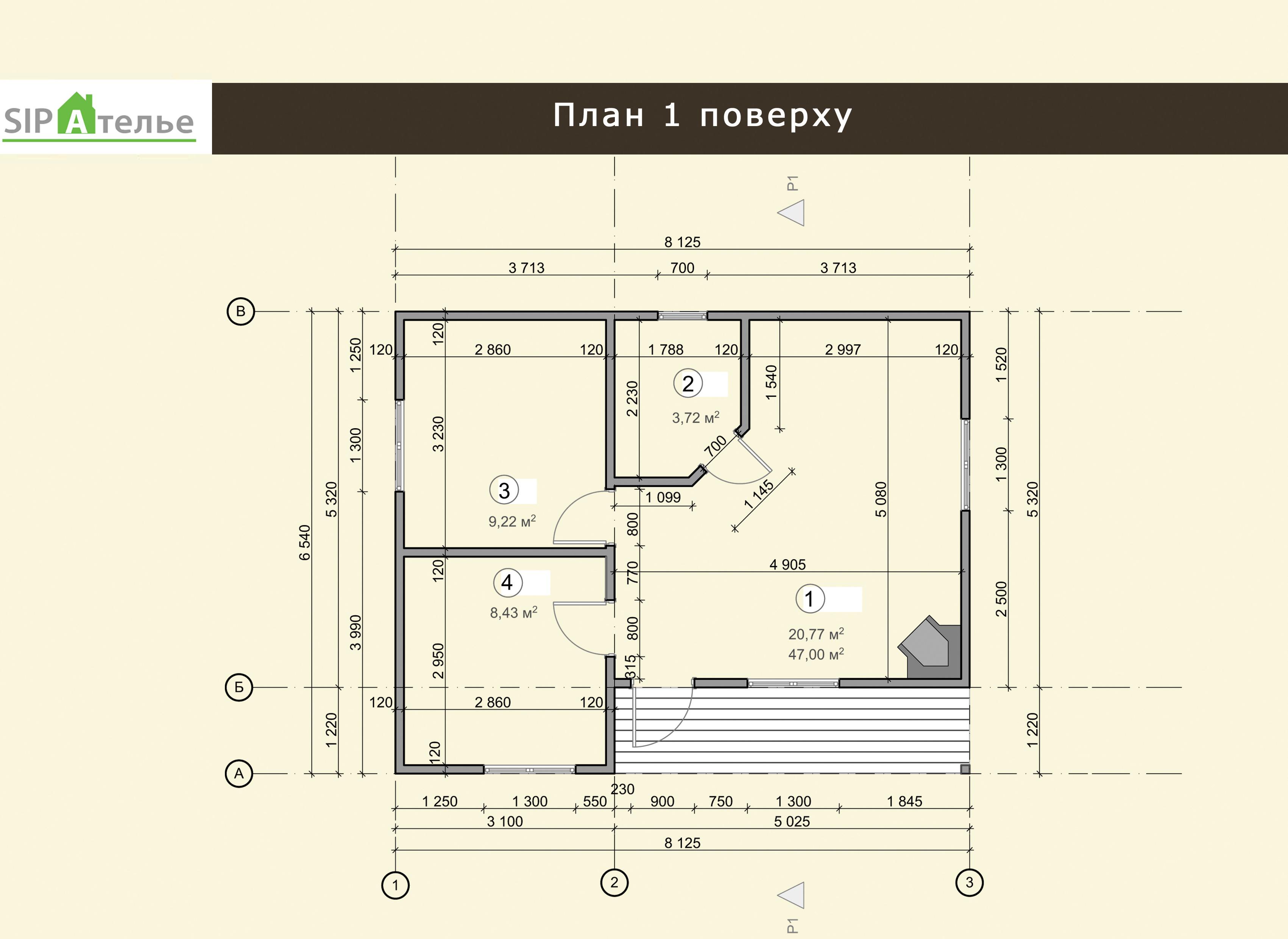 Планировка одноэтажного дома из сип панелей Генрих
