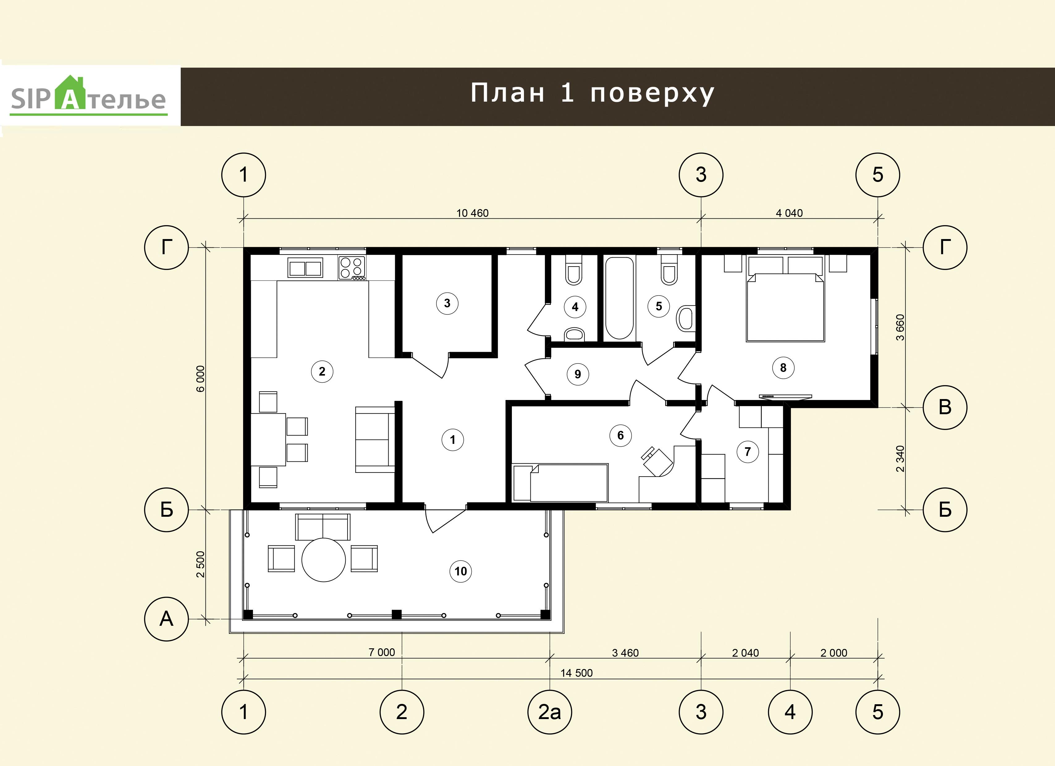 Планировка одноэтажного дома из сип панелей Гудаури - 82,32 М2
