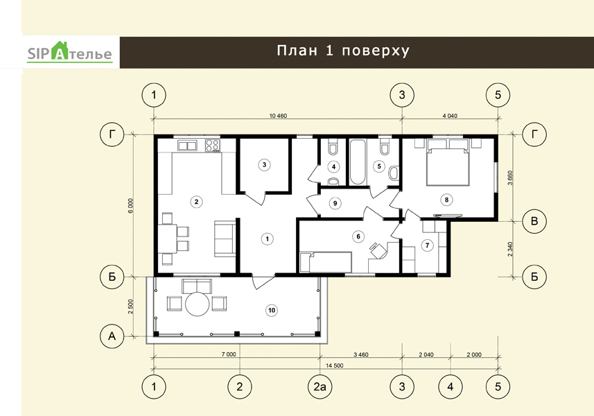 План схема одноэтажного дома из сип панелей 82,32 м2