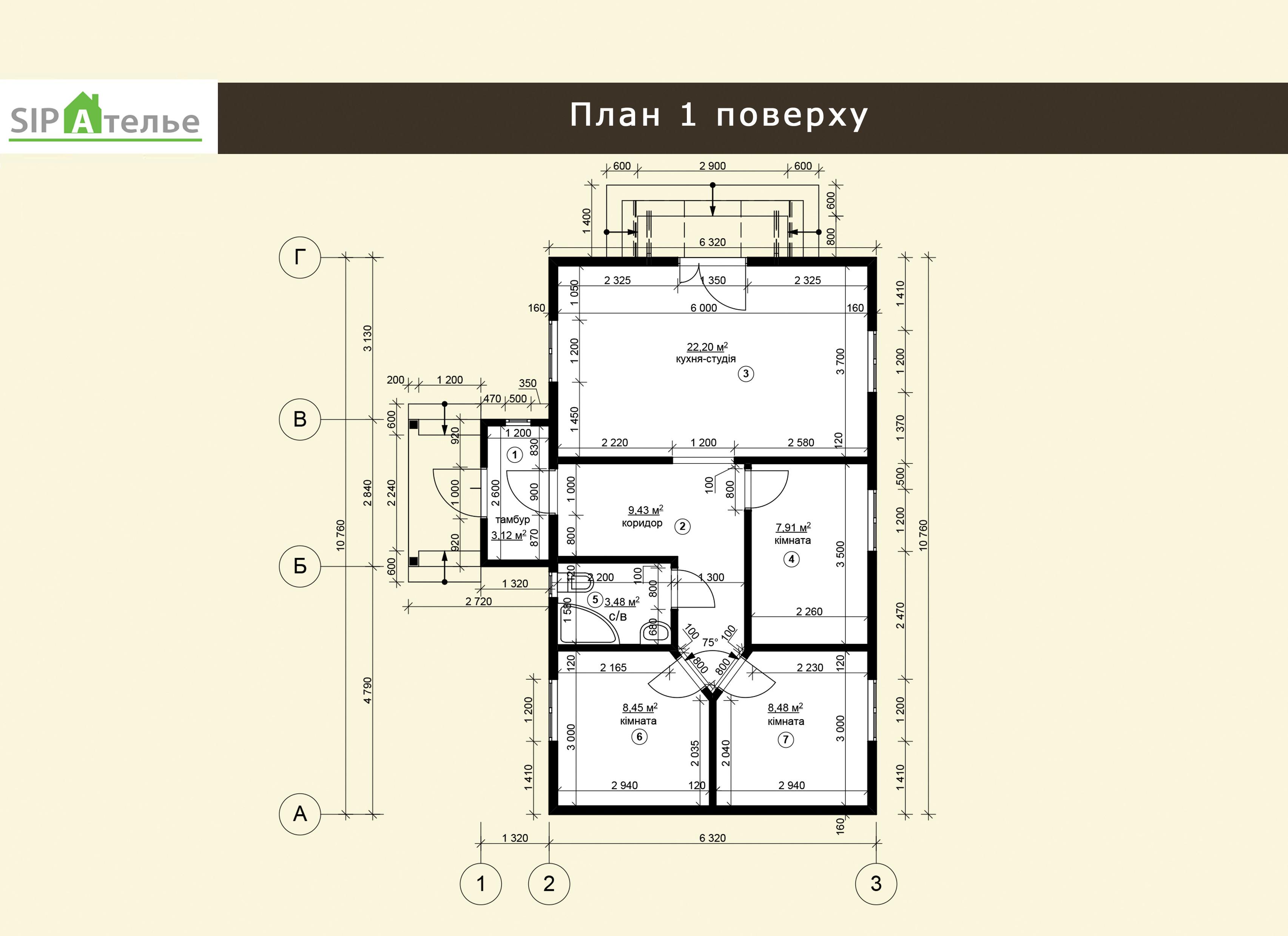 Планировка одноэтажного дома из сип панелей «Топаз» 71,75