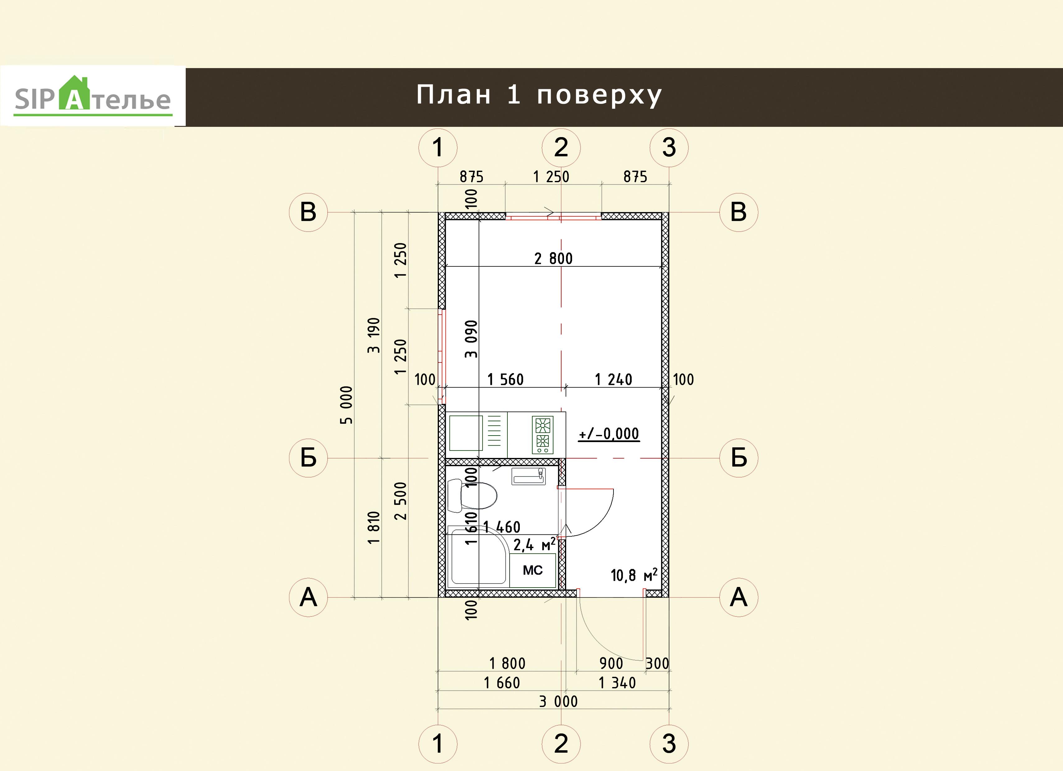 Планировка одноэтажного дома из сип панелей Вуд