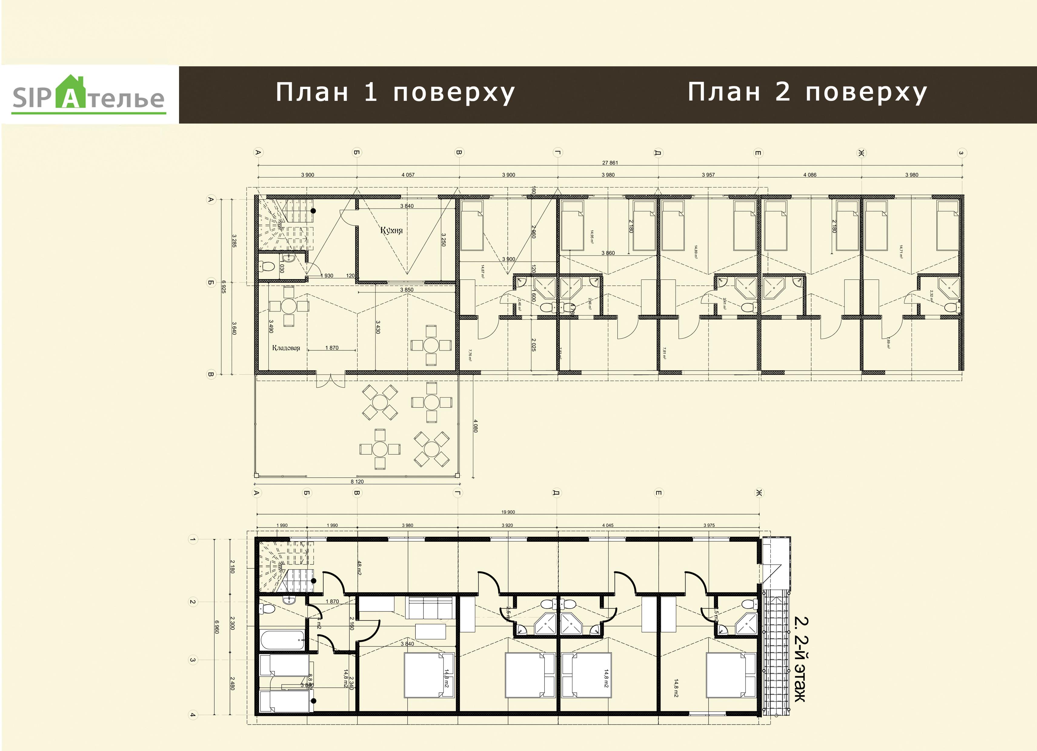 Планировка отеля из сип панелей «Восток» 389,2 м2