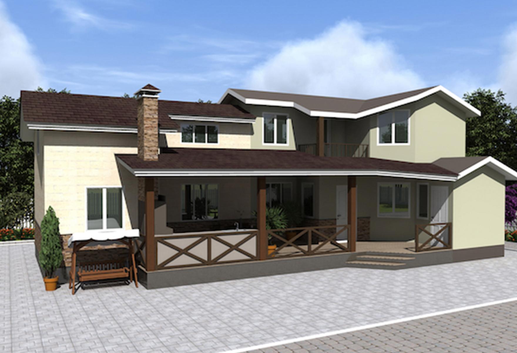 Пристройка для жилого дома из сип панелей 70,42 м2