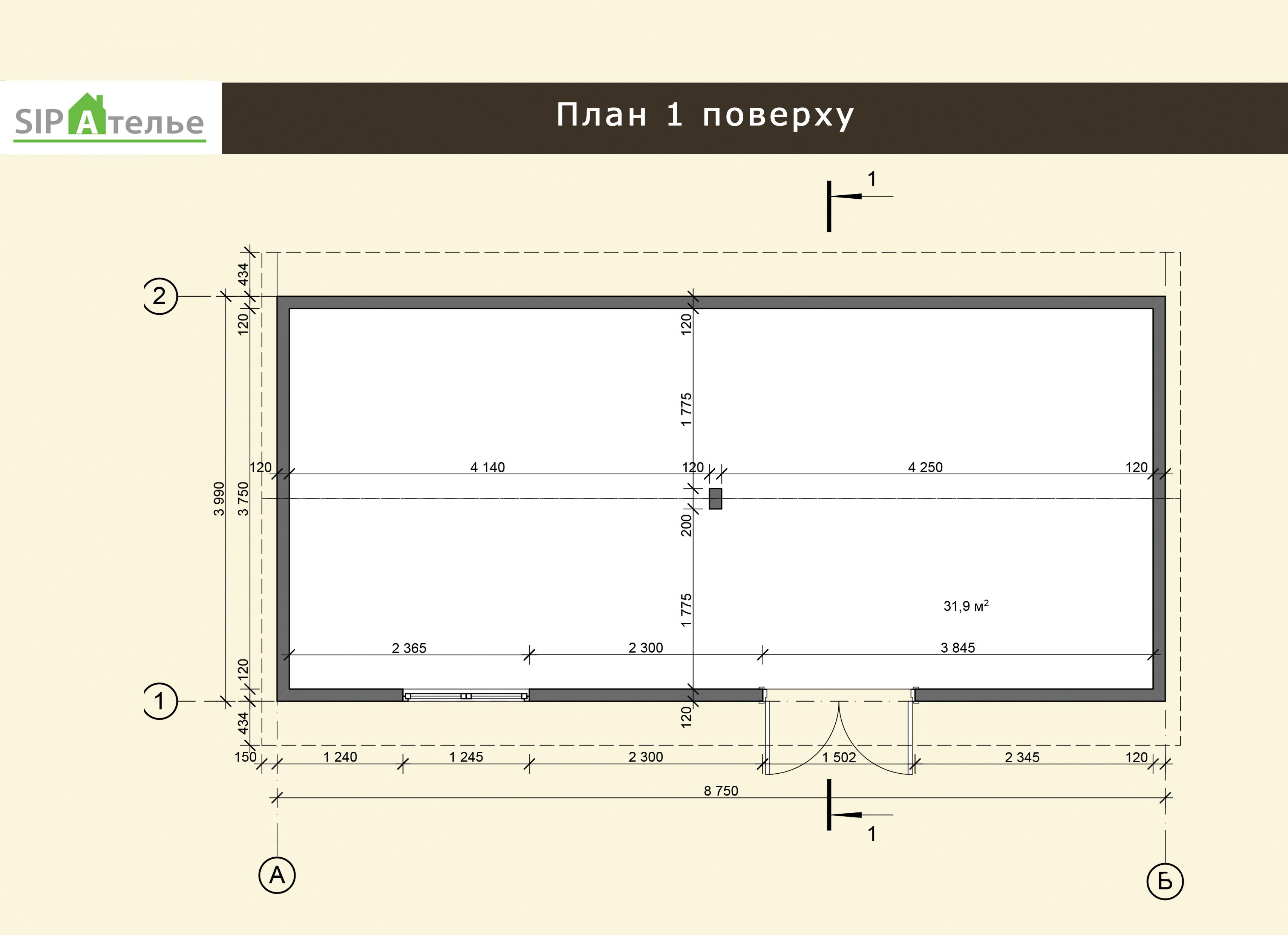 Планировска мастерской из сип панелей «Хамер» 34,91 м2