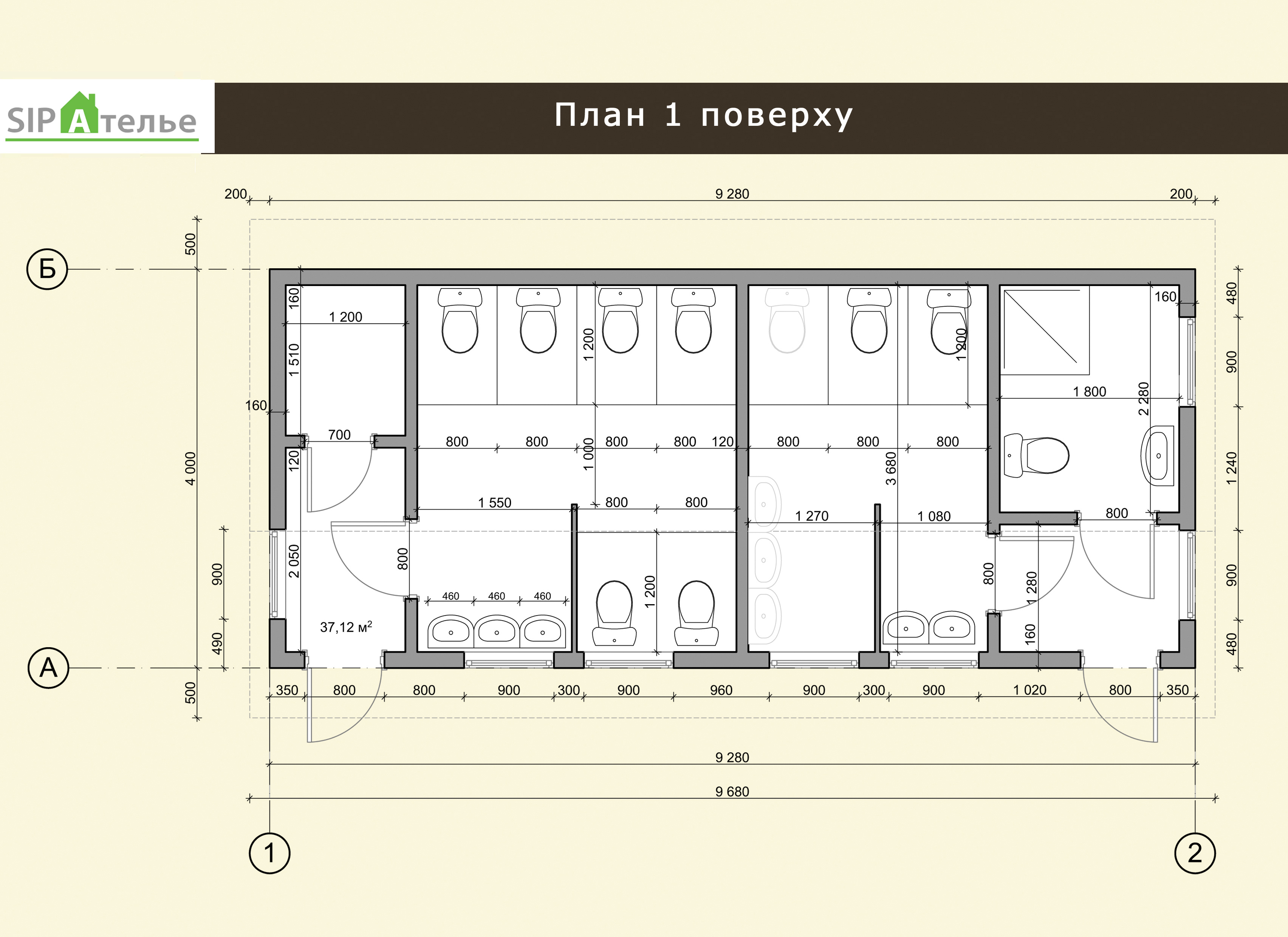 Планировка общественного туалета из сип панелей 37,92 М2