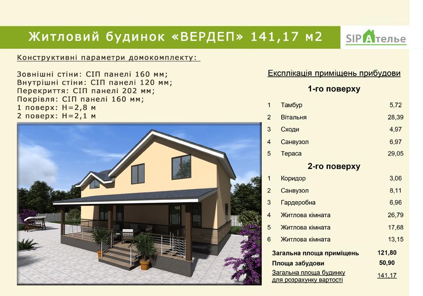 Жилой частный дом из сип панелей «Вердеп» 141.72 м2 - фото 8