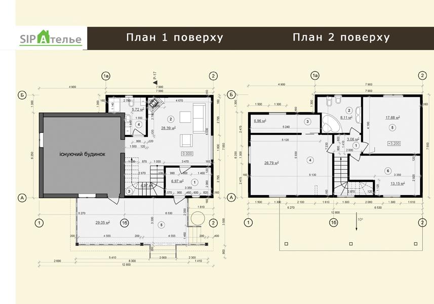 План схема дом из сип панелей «Вердеп» 141.72 м2